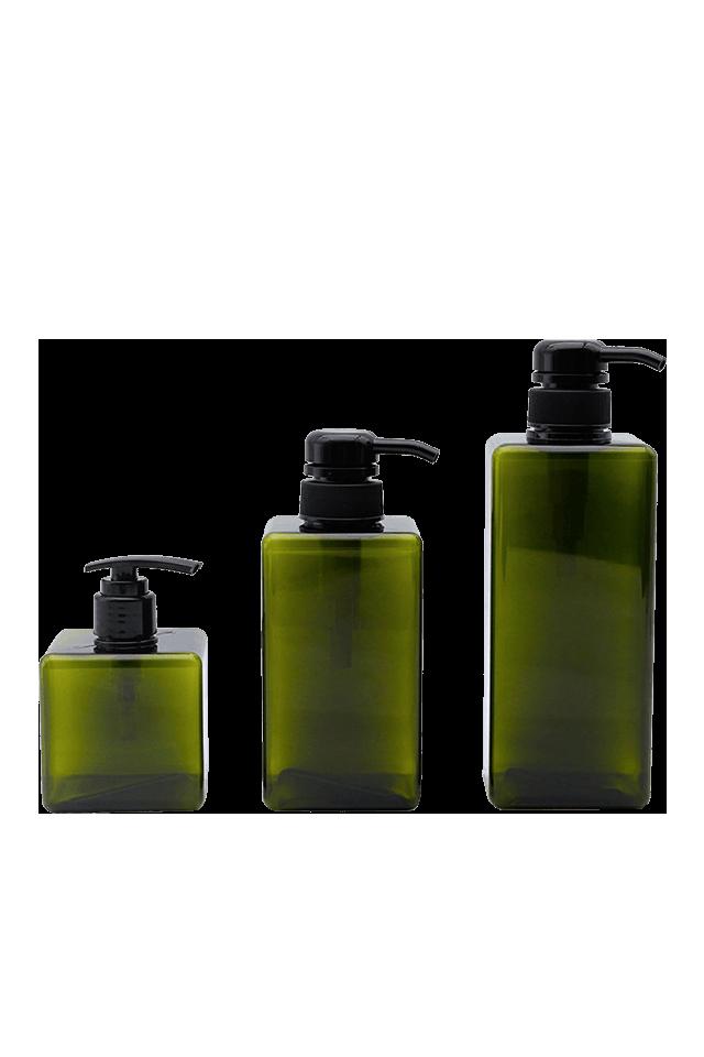Botella cuadrada plástica de 250ML 450ML 650ML para bomba de jabón de loción
